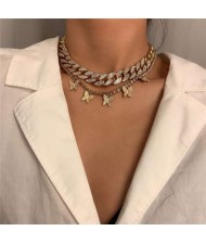 Rhinestone Embellished Chain and Butterflies Pendant Dual Layers High Fashion Women Costume Necklace - Golden