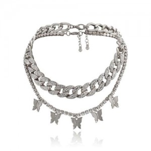 Rhinestone Embellished Chain and Butterflies Pendant Dual Layers High Fashion Women Costume Necklace - Platinum