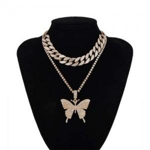 Bold Butterfly Pendant Rhinestone Chain Choker Dual Layers High Fashion Women Costume Necklace - Golden