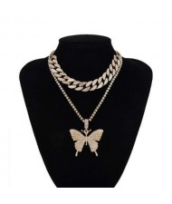 Bold Butterfly Pendant Rhinestone Chain Choker Dual Layers High Fashion Women Costume Necklace - Golden