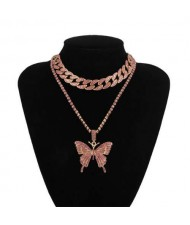 Bold Butterfly Pendant Rhinestone Chain Choker Dual Layers High Fashion Women Costume Necklace - Pink