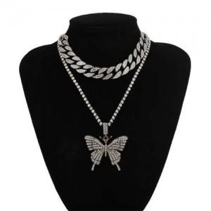 Bold Butterfly Pendant Rhinestone Chain Choker Dual Layers High Fashion Women Costume Necklace - Gun Black