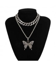 Bold Butterfly Pendant Rhinestone Chain Choker Dual Layers High Fashion Women Costume Necklace - Gun Black