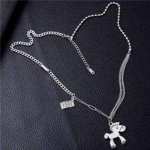 Hip Hop Fashion Horse and Dollar Note Pendants High Fashion Alloy Costume Wholesale Necklace