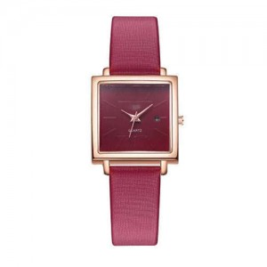 Square Fashion Internet Stars Choice with Calendar Design Women Wrist Watch - Red