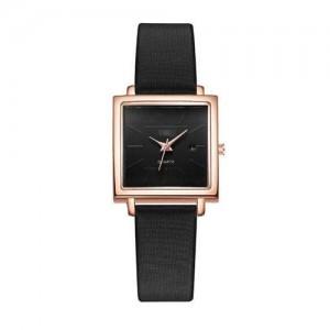 Square Fashion Internet Stars Choice with Calendar Design Women Wrist Watch - Black