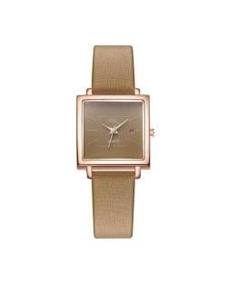 Square Fashion Internet Stars Choice with Calendar Design Women Wrist Watch - Brown