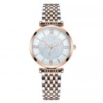 Rhinestone Inlaid Roman Numerals Index High Fashion Women Alloy Wrist Watch - Rose Gold and Silver