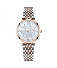 Rhinestone Inlaid Roman Numerals Index High Fashion Women Alloy Wrist Watch - Rose Gold and Silver
