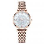 Rhinestone Inlaid Roman Numerals Index High Fashion Women Alloy Wrist Watch - Rose Gold