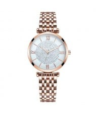 Rhinestone Inlaid Roman Numerals Index High Fashion Women Alloy Wrist Watch - Rose Gold