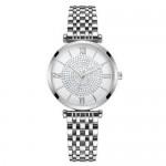 Rhinestone Inlaid Roman Numerals Index High Fashion Women Alloy Wrist Watch - Silver