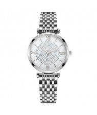 Rhinestone Inlaid Roman Numerals Index High Fashion Women Alloy Wrist Watch - Silver