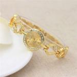 Rhinestone Embellished Hearts Strap Elegant Fashion Women Stainless Steel Wrist Watch