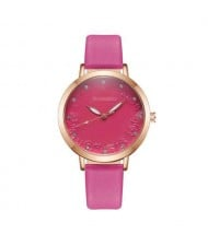 Rose Engraving Index Graceful Fashion Women Leather Wrist Watch