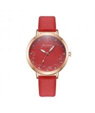 Rose Engraving Index Graceful Fashion Women Leather Wrist Watch