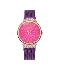 Abstract Flower Index Shining Rhinestone Fashion Women Wrist Watch