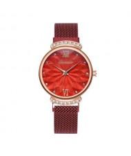 Abstract Flower Index Shining Rhinestone Fashion Women Wrist Watch