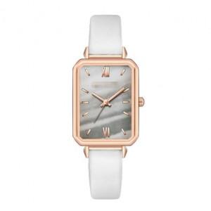 Rectangular Index Vintage Fashion Women Alloy Leather Wrist Watch - White
