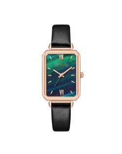 Rectangular Index Vintage Fashion Women Alloy Leather Wrist Watch - Black