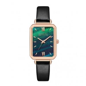 Rectangular Index Vintage Fashion Women Alloy Leather Wrist Watch - Black