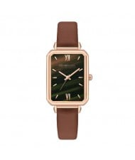 Rectangular Index Vintage Fashion Women Alloy Leather Wrist Watch - Brown