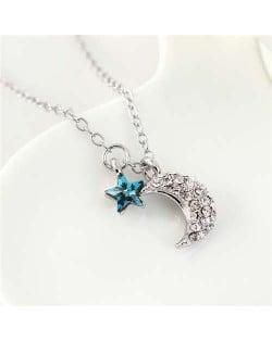 Austrian Crystal Moon and Star Pendants Graceful Design Women Necklace - Blue