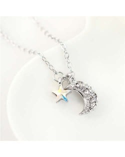 Austrian Crystal Moon and Star Pendants Graceful Design Women Necklace - Luminous White