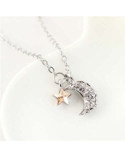 Austrian Crystal Moon and Star Pendants Graceful Design Women Necklace - Champagne