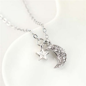 Austrian Crystal Moon and Star Pendants Graceful Design Women Necklace - White
