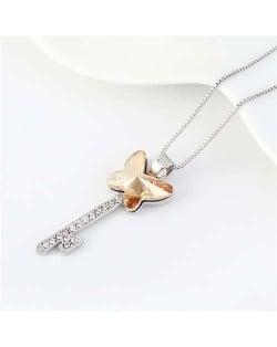 Elegant Austrian Crystal Butterfly Design Key Pendant Women Platinum Plated Necklace - Champagne