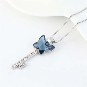 Elegant Austrian Crystal Butterfly Design Key Pendant Women Platinum Plated Necklace - Ink Blue