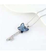 Elegant Austrian Crystal Butterfly Design Key Pendant Women Platinum Plated Necklace - Ink Blue