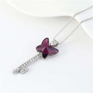 Elegant Austrian Crystal Butterfly Design Key Pendant Women Platinum Plated Necklace - Purple