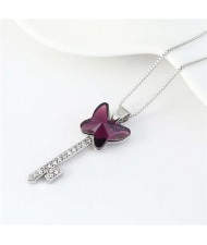 Elegant Austrian Crystal Butterfly Design Key Pendant Women Platinum Plated Necklace - Purple