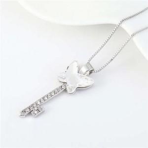 Elegant Austrian Crystal Butterfly Design Key Pendant Women Platinum Plated Necklace - White