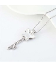 Elegant Austrian Crystal Butterfly Design Key Pendant Women Platinum Plated Necklace - White