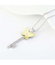 Elegant Austrian Crystal Butterfly Design Key Pendant Women Platinum Plated Necklace - Light Yellow