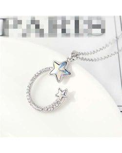 Austrian Crystal Twin Stars Graceful Ring Design Pendant Fashion Women Necklace - Luminous White