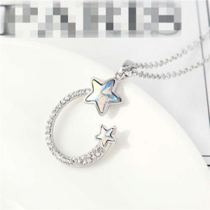 Austrian Crystal Twin Stars Graceful Ring Design Pendant Fashion Women Necklace - Luminous White
