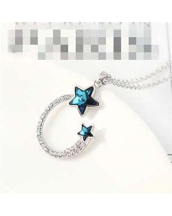 Austrian Crystal Twin Stars Graceful Ring Design Pendant Fashion Women Necklace - Blue