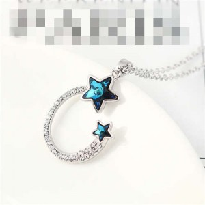 Austrian Crystal Twin Stars Graceful Ring Design Pendant Fashion Women Necklace - Blue