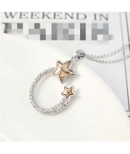 Austrian Crystal Twin Stars Graceful Ring Design Pendant Fashion Women Necklace - Champagne