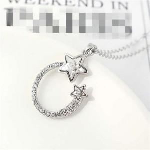 Austrian Crystal Twin Stars Graceful Ring Design Pendant Fashion Women Necklace - White