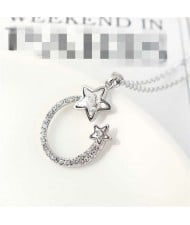 Austrian Crystal Twin Stars Graceful Ring Design Pendant Fashion Women Necklace - White