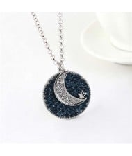 Moon and Star Combo Austrian Crystal Round Pendant Platinum Plated Women Necklace