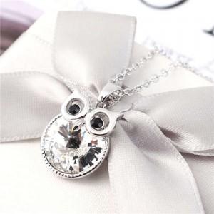 Cute Night Owl Austrian Crystal High Fashion Women Necklace - White
