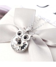 Cute Night Owl Austrian Crystal High Fashion Women Necklace - White