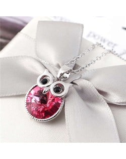Cute Night Owl Austrian Crystal High Fashion Women Necklace - Rose