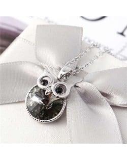 Cute Night Owl Austrian Crystal High Fashion Women Necklace - Black